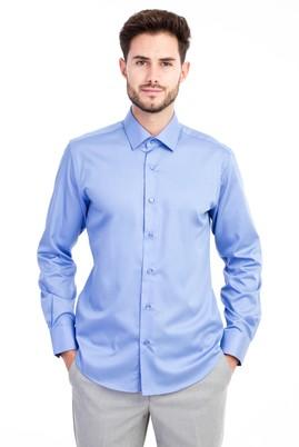 Erkek Giyim - Mavi S Beden Uzun Kol Non Iron Saten Slim Fit Gömlek