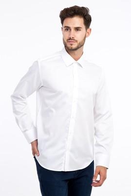 Erkek Giyim - Beyaz L Beden Uzun Kol Non Iron Saten Slim Fit Gömlek