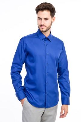 Erkek Giyim - Mavi L Beden Uzun Kol Non Iron Saten Slim Fit Gömlek