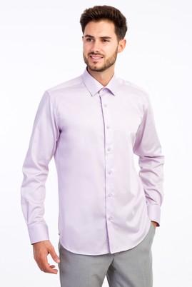 Erkek Giyim - Lila M Beden Uzun Kol Non Iron Saten Slim Fit Gömlek