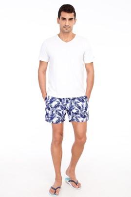 Erkek Giyim - Lacivert 50 Beden Desenli Deniz Şortu
