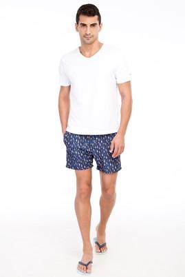 Erkek Giyim - Lacivert 52 Beden Desenli Deniz Şortu