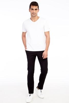 Erkek Giyim - Siyah 46 Beden Slim Fit Desenli Spor Pantolon