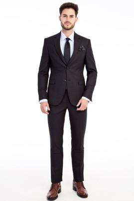 Erkek Giyim - Siyah 50 Beden Slim Fit Çizgili Takım Elbise