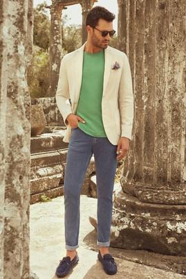 Erkek Giyim - Kum 46 Beden Desenli Spor Yıkamalı Ceket