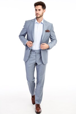 Erkek Giyim - Orta füme 54 Beden Desenli Takım Elbise