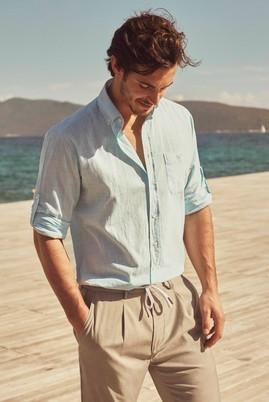 Erkek Giyim - Turkuaz XL Beden Uzun Kol Spor Gömlek