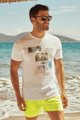 Erkek Giyim - Beyaz S Beden Bisiklet Yaka Baskılı Slim Fit Tişört