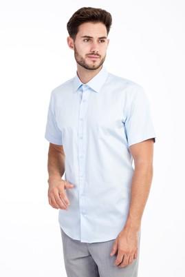 Erkek Giyim - Açık Mavi S Beden Kısa Kol Saten Slim Fit Gömlek