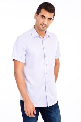 Erkek Giyim - Lila 3X Beden Kısa Kol Desenli Klasik Gömlek