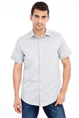 Erkek Giyim - Orta füme 3X Beden Kısa Kol Desenli Klasik Gömlek