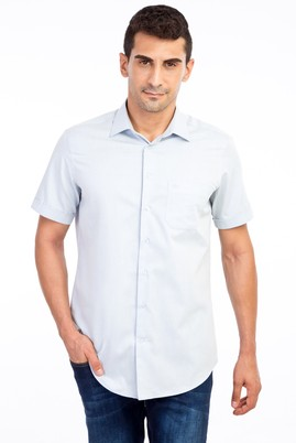 Erkek Giyim - Açık Mavi M Beden Kısa Kol Desenli Klasik Gömlek