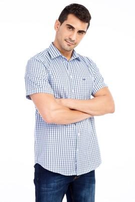 Erkek Giyim - Açık Mavi 3X Beden Kısa Kol Ekose Gömlek