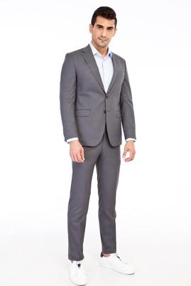 Erkek Giyim - Orta füme 50 Beden Klasik Desenli Takım Elbise