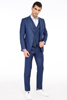 Erkek Giyim - KOYU MAVİ 52 Beden Yelekli Kuşgözü Takım Elbise