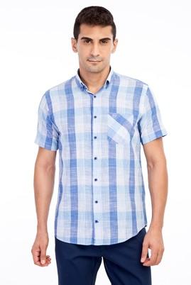 Erkek Giyim - Mavi XL Beden Kısa Kol Regular Fit Ekose Gömlek