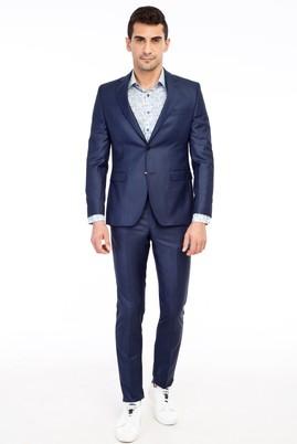 Erkek Giyim - KOYU MAVİ 54 Beden Slim Fit Desenli Takım Elbise