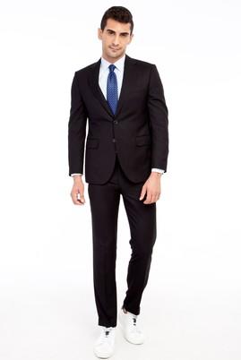 Erkek Giyim - Siyah 52 Beden Slim Fit Kuşgözü Takım Elbise