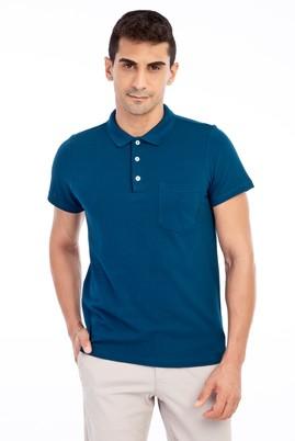 Erkek Giyim - Petrol S Beden Polo Yaka Regular Fit Tişört