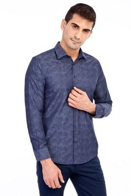 Erkek Giyim - Lacivert L Beden Uzun Kol Desenli Gömlek