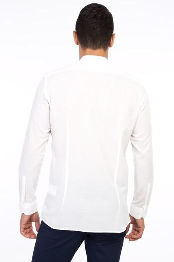 Erkek Giyim - Uzun Kol Hakim Yaka Slim Fit Gömlek