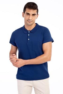 Erkek Giyim - Mavi XL Beden Polo Yaka Süper Slim Fit Tişört