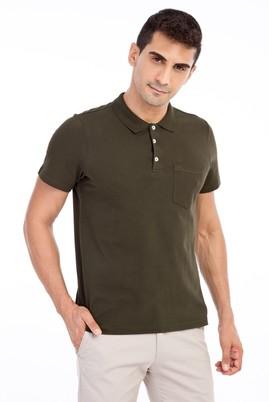 Erkek Giyim - KOYU YESİL L Beden Polo Yaka Regular Fit Tişört