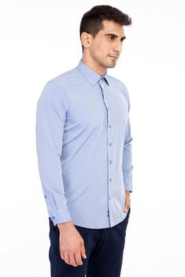 Erkek Giyim - Mavi XL Beden Uzun Kol Desenli Gömlek