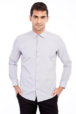 Erkek Giyim - Açık Kahve - Camel M Beden Uzun Kol Desenli Gömlek