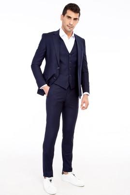Erkek Giyim - Lacivert 52 Beden Slim Fit Yelekli Takım Elbise
