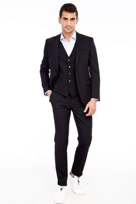 Erkek Giyim - Siyah 52 Beden Slim Fit Yelekli Takım Elbise