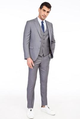 Erkek Giyim - Açık Gri 48 Beden Slim Fit Yelekli Takım Elbise