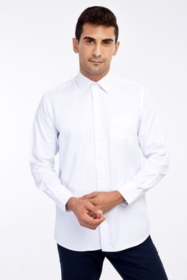 Erkek Giyim - Beyaz XXL Beden Uzun Kol Desenli Klasik Gömlek
