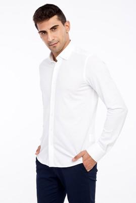 Erkek Giyim - Beyaz M Beden Uzun Kol Slim Fit Gömlek