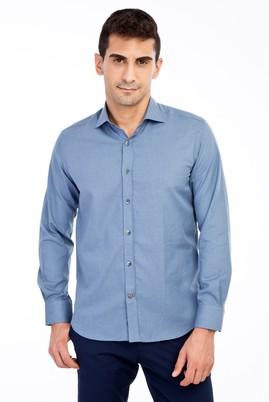 Erkek Giyim - Orta füme M Beden Uzun Kol Desenli Slim Fit Gömlek