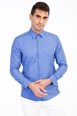 Erkek Giyim - Mavi M Beden Uzun Kol Desenli Gömlek