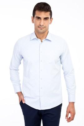 Erkek Giyim - Mavi S Beden Uzun Kol Desenli Gömlek