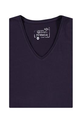 Erkek Giyim - Bordo 6X Beden King Size V Yaka Regular Fit Tişört