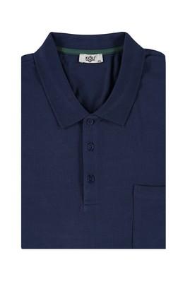 Erkek Giyim - Lacivert 5X Beden King Size Polo Yaka Regular Fit Tişört