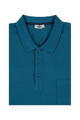 Erkek Giyim - Petrol 4X Beden King Size Polo Yaka Regular Fit Tişört