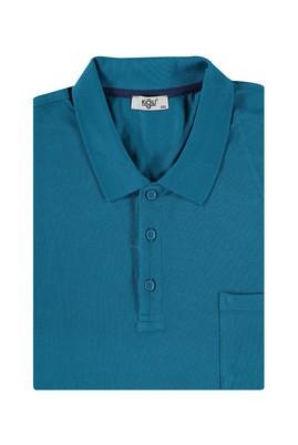 Erkek Giyim - Petrol 5X Beden King Size Polo Yaka Regular Fit Tişört