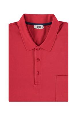 Erkek Giyim - Kırmızı 7X Beden King Size Polo Yaka Regular Fit Tişört