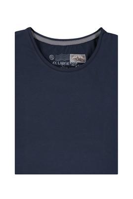 Erkek Giyim - Lacivert 4X Beden King Size Bisiklet Yaka Regular Fit Tişört