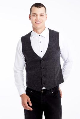 Erkek Giyim - Antrasit 3X Beden Klasik Yelek