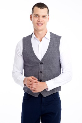 Erkek Giyim - Orta füme 3X Beden Klasik Yelek