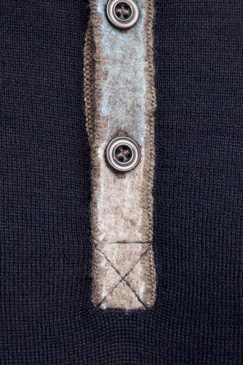 Erkek Giyim - Bisiklet Yaka Yünlü Desenli Slim Fit Triko Kazak