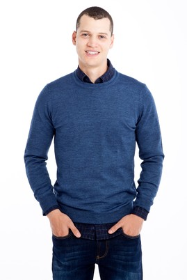 Erkek Giyim - Mavi XL Beden Bisiklet Yaka Triko Kazak