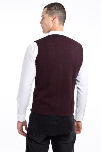 Erkek Giyim - Çift Taraflı Desenli Slim Fit Yelek