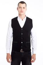 Erkek Giyim - Çift Taraflı Yünlü Desenli Slim Fit Yelek