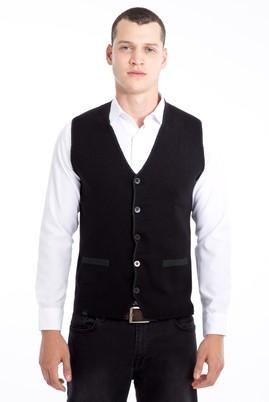 Erkek Giyim - KOYU YESİL 3X Beden Çift Taraflı Yünlü Desenli Slim Fit Yelek